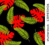 tropical vector leaves... | Shutterstock .eps vector #1389850436