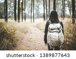 young asian travel backpacker... | Shutterstock . vector #1389877643