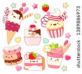 set of cute sweet icons in... | Shutterstock .eps vector #1389886973