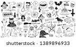 horror set of halloween doodle... | Shutterstock .eps vector #1389896933