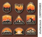 set of nine mountain travel... | Shutterstock .eps vector #1389904883