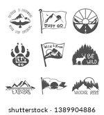 set of nine black travel... | Shutterstock .eps vector #1389904886