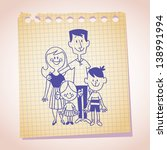 50s retro,60s retro,boy,brother,cartoon,child,couple,cute,dad,daughter,doodle,drawing,family,family of four,family portrait