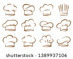 set of vintage chef and cook... | Shutterstock .eps vector #1389937106