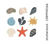 sea shell vector icons in... | Shutterstock .eps vector #1389940166