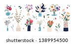 collection of wild and garden... | Shutterstock .eps vector #1389954500