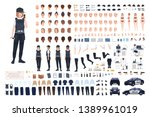 policewoman animation set or... | Shutterstock .eps vector #1389961019