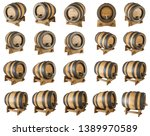 Set Wooden Oak Barrels Stand - Fine Art prints