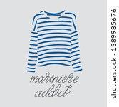 blue striped longsleeve t shirt ... | Shutterstock .eps vector #1389985676