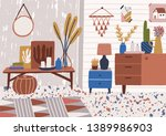stylish living room interior... | Shutterstock .eps vector #1389986903
