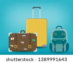 travel luggage set. travel and... | Shutterstock .eps vector #1389991643