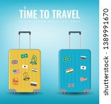 travel luggage set. travel and... | Shutterstock .eps vector #1389991670