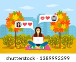 beautiful young girl sitting in ... | Shutterstock .eps vector #1389992399