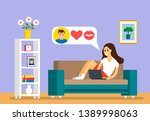 beautiful young girl sitting on ... | Shutterstock .eps vector #1389998063