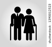 senior couple with walking cane.... | Shutterstock .eps vector #1390012523