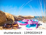 Flip flop and other beach accessories, summer holiday vacation landscape, Baltic Sea, Poland