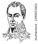 Simon Bolivar, 1783-1830, he was a military and political leader who played a leading role in the establishment of Venezuela, Bolivia, Colombia, Ecuador, Peru and Panama, vintage line drawing