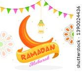 ramadan mubarak greeting card...   Shutterstock .eps vector #1390024436