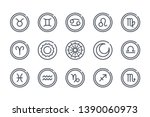 zodiac related line icon set.... | Shutterstock .eps vector #1390060973