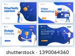 set of landing page design... | Shutterstock .eps vector #1390064360