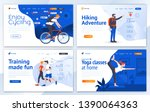 set of landing page design... | Shutterstock .eps vector #1390064363