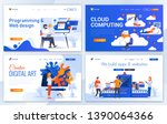 set of landing page design... | Shutterstock .eps vector #1390064366