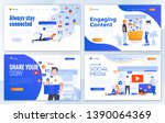 set of landing page design... | Shutterstock .eps vector #1390064369