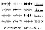 sound waves set. black digital... | Shutterstock .eps vector #1390065770