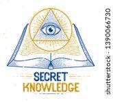 secret knowledge vintage open...   Shutterstock .eps vector #1390066730
