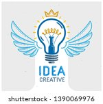 idea light bulb with wings... | Shutterstock .eps vector #1390069976