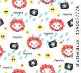 seamless doodle summer pattern. ...   Shutterstock .eps vector #1390077776