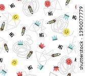 seamless doodle pattern. vector ...   Shutterstock .eps vector #1390077779