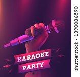 vector karaoke party flyer or... | Shutterstock .eps vector #1390086590
