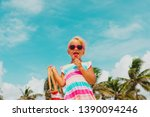 happy cute little girl with... | Shutterstock . vector #1390094246