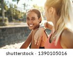 laughing young woman in... | Shutterstock . vector #1390105016
