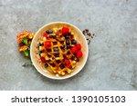 flat lay of belgian waffles...   Shutterstock . vector #1390105103