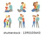 happy parents embracing their... | Shutterstock .eps vector #1390105643