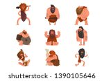 primitive cavemen set  stone... | Shutterstock .eps vector #1390105646