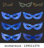 set of blue ornamental... | Shutterstock .eps vector #139011374