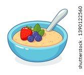 breakfast oatmeal bowl with... | Shutterstock .eps vector #1390122560