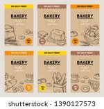 bakery hand drawn posters.... | Shutterstock .eps vector #1390127573