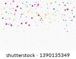 colorful confetti star on... | Shutterstock .eps vector #1390135349