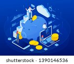 isometric businessman putting a ... | Shutterstock .eps vector #1390146536