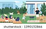 happy family spending time in... | Shutterstock .eps vector #1390152866