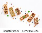 Stock photo various granola bars isolated on white background copy space homemade healthy snack granola 1390153223