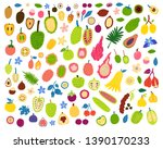 exotic fruits and berries...   Shutterstock .eps vector #1390170233