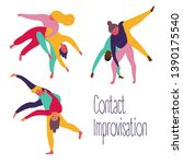 young people in yoga contact... | Shutterstock .eps vector #1390175540
