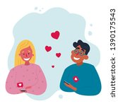 mobile couple dating... | Shutterstock .eps vector #1390175543