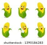 corn cartoon set illustration... | Shutterstock .eps vector #1390186283