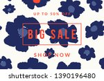 blue bold floral blossoms and... | Shutterstock .eps vector #1390196480